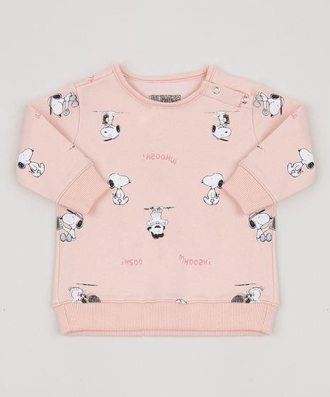 Blusao-de-Moletom-Infantil-Snoopy-Estampado-com-Botoes-Laterais-Rosa-Claro-9954372-Rosa_Claro_1