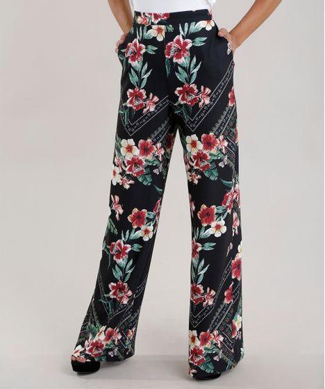 Calca-Pantalona-Estampada-Floral-Preta-8707204-Preto 1 ... 70ad08a609c