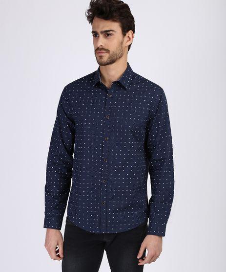 Camisa-Masculina-Estampada-Mini-Print-de-Setas-Manga-Longa-Azul-Marinho-9831518-Azul_Marinho_1