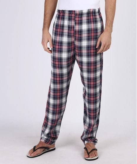 Calca-de-Pijama-Masculina-em-Flanela-Estampada-Xadrez-com-Bolso-Traseiro-Azul-9955325-Azul_1