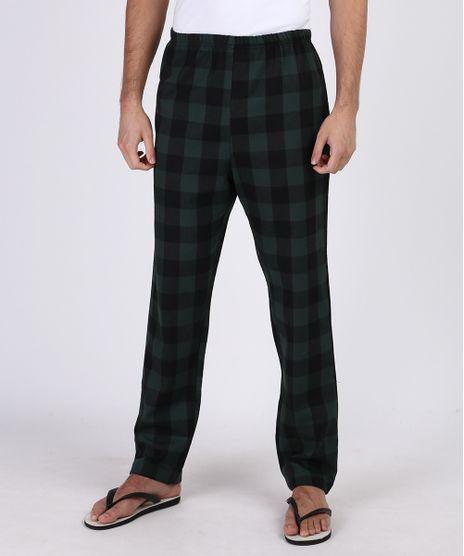 Calca-de-Pijama-Masculina-em-Flanela-Estampada-Xadrez-com-Bolso-Verde-Escuro-9955731-Verde_Escuro_1