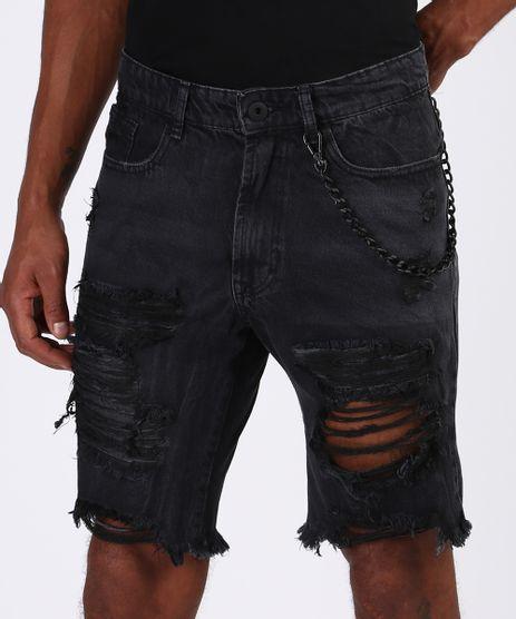 Bermuda-Jeans-Masculina-Slim-Destroyed-com-Corrente-Preta-9943527-Preto_1