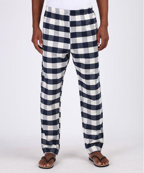 Calca-de-Pijama-Masculina-em-Flanela-Estampada-Xadrez-com-Bolso-Azul-Marinho-9955732-Azul_Marinho_1