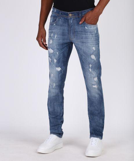 Calca-Jeans-Masculina-Slim-Destroyed-com-Bolsos-Azul-9950015-Azul_1