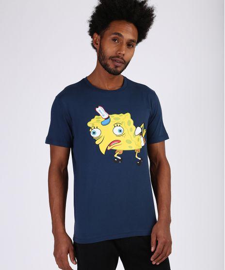 Camiseta-Masculina-Bob-Esponja-Manga-Curta-Gola-Careca-Azul-Escuro-9955433-Azul_Escuro_1