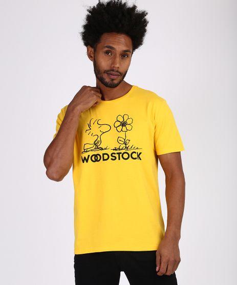 Camiseta-Masculina-Snoopy--Wood-Stock--Manga-Curta-Gola-Careca-Amarela-9955586-Amarelo_1