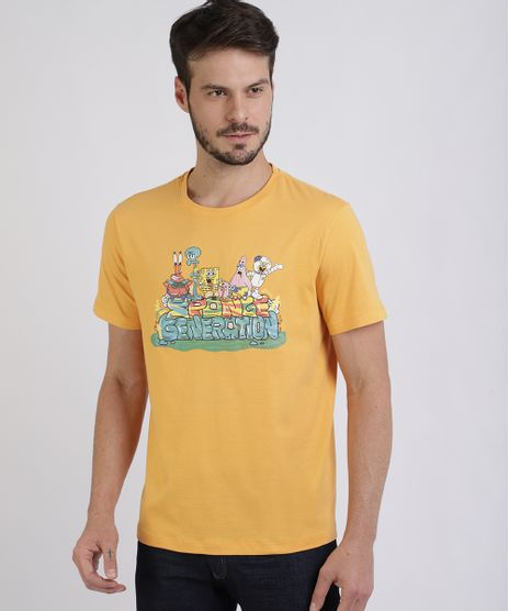 Camiseta-Masculina-Bob-Esponja-Manga-Curta-Gola-Careca-Amarela-9955442-Amarelo_1