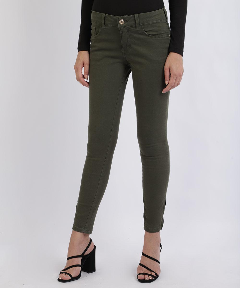 Calça Jeans Feminina Super Skinny Cintura Média Com Bolsos e Zíper Verde Militar