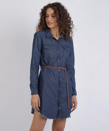Vestido-Chemise-Jeans-Feminino-Curto-com-Cinto-Manga-Longa-Azul-Escuro-9952223-Azul_Escuro_1