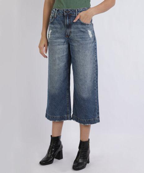 Calca-Jeans-Feminina-Pantacourt-Destroyed-Cintura-Alta-com-Bolsos-Azul-9951783-Azul_1