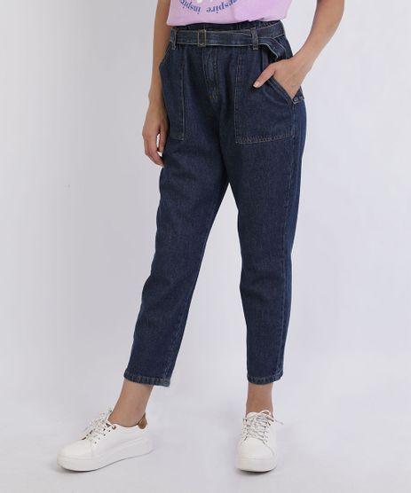 Calca-Jeans-Feminina-Clochard-Cintura-Super-Alta-com-Faixa-com-Fivela-Azul-Escuro-9953990-Azul_Escuro_1