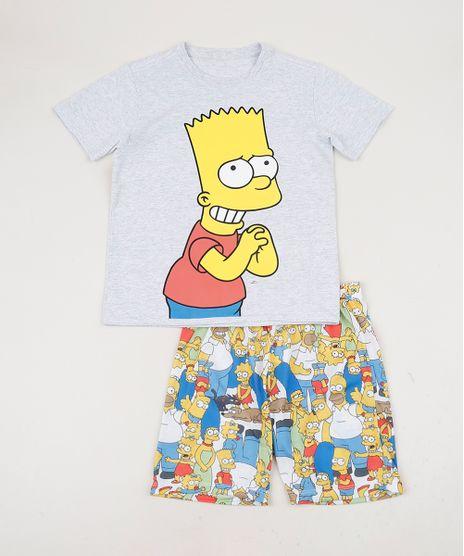Pijama-Tal-Pai-Tal-Filho-Bart-Simpsons-Camiseta-Manga-Curta-Cinza-Mescla-9955717-Cinza_Mescla_1