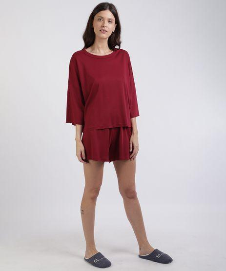 Pijama-Feminino-Manga-7-8-Decote-Redondo-Vermelho-Escuro-9953265-Vermelho_Escuro_1