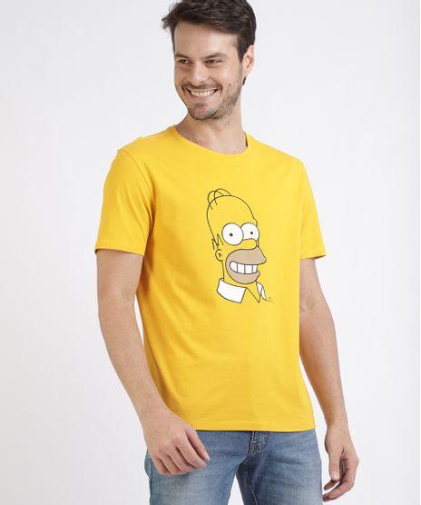 Camiseta-Masculina-Homer-Simpsons-Manga-Curta-Gola-Careca-Amarela-9952754-Amarelo_1