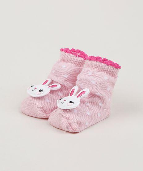 Meia-Infantil-Estampada-de-Poa-Cano-Medio-com-Patch-Coelhinha-Rosa-Claro-9954294-Rosa_Claro_1