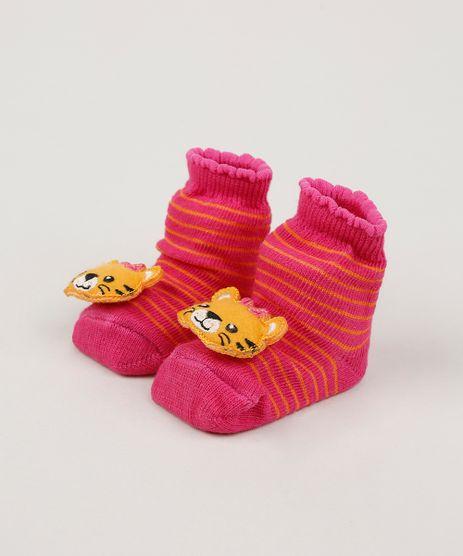 Meia-Infantil-Listrada-Cano-Medio-com-Patch-Tigre-Rosa-9954296-Rosa_1