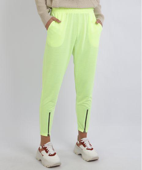 Calca-Feminina-Jogger-com-Bolsos-e-Zipper-Amarela-9957857-Amarelo_1