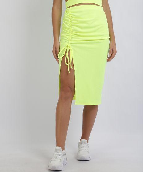 Saia-Feminina-Midi-Canelada-com-Fenda-Profunda-e-Franzido-Amarelo-Neon-9957855-Amarelo_Neon_1