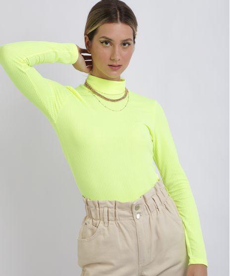 Blusa-Feminina-Canelada-Gola-Alta-Manga-Longa-Amarelo-Neon-9957898-Amarelo_Neon_1