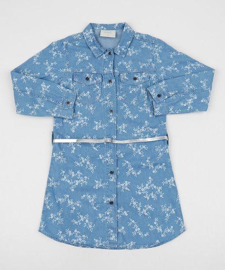 Chemise-Jeans-Infantil-Estampada-Floral-Manga-Longa-com-Cinto-Azul-Claro-9944455-Azul_Claro_1