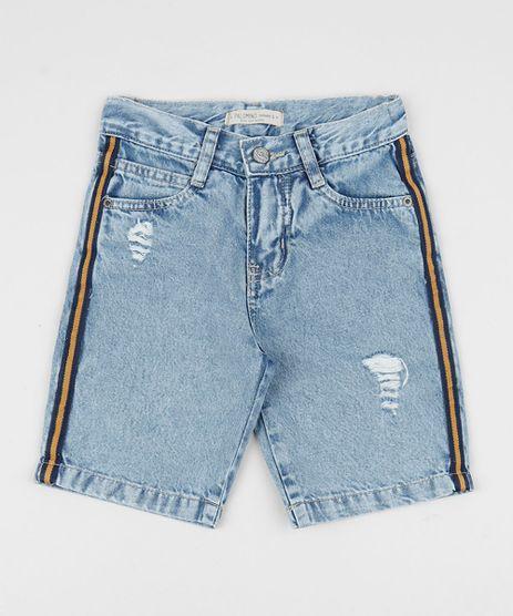 Bermuda-Jeans-Infantil-com-Faixa-Lateral-e-Bolsos-Destroyed-Azul-Medio-9953874-Azul_Medio_1