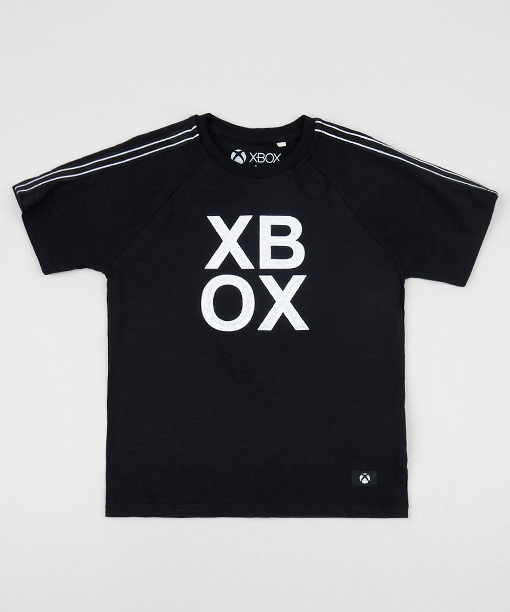 Camiseta Infantil XBOX Manga Curta Gola Careca Preta