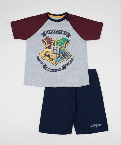 Pijama-Juvenil-Harry-Potter-Manga-Curta-Raglan-Cinza-Mescla-9955485-Cinza_Mescla_1