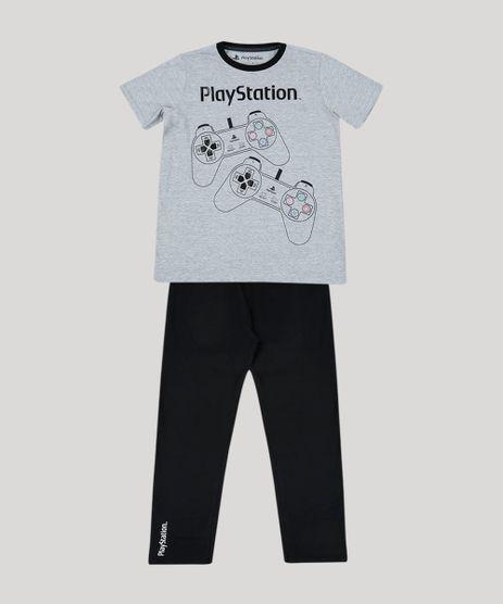 Pijama-Juvenil-Playstation-Manga-Curta-Cinza-Mescla-9955514-Cinza_Mescla_1