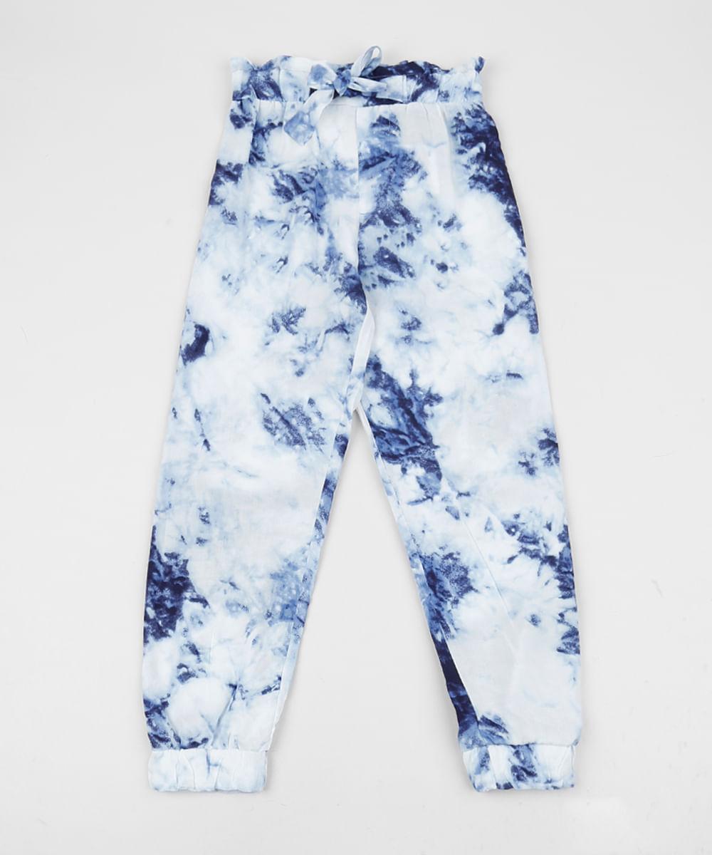 Calça Infantil Clochard Estampada Tie Dye Azul