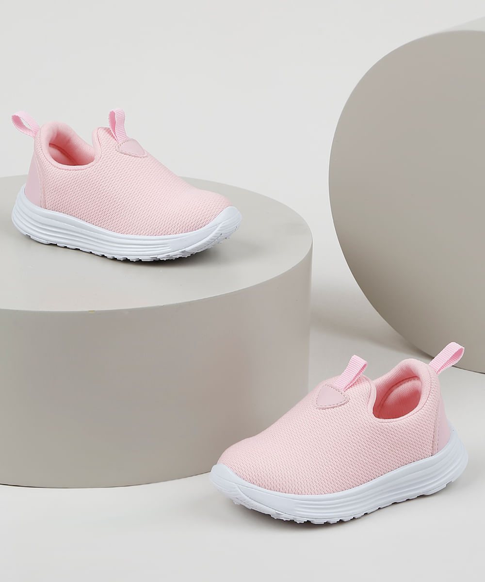Tênis Infantil Baby Club Knit Calce Fácil Rosa