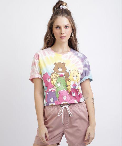Camiseta-Unissex-Ursinhos-Carinhosos-Estampada-Tie-Dye-Manga-Curta-Rosa-9956364-Rosa_1