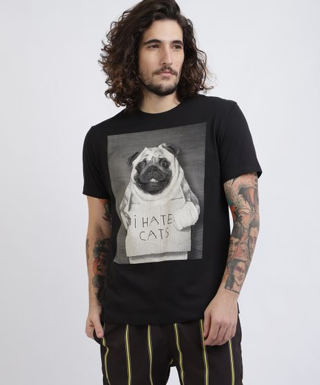 Camiseta-Unissex-Pug--I-Hate-Cats--Manga-Curta-Gola-Careca-Preta-9956859-Preto_1