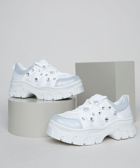 Tenis-Feminino-Oneself-Sneaker-Chunky-com-Strass-Branco-9955108-Branco_1