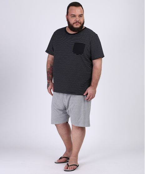 Pijama-Masculino-Plus-Size-Camiseta-Estampada-Listrada-Manga-Curta-Gola-Careca-Preto-9954419-Preto_1