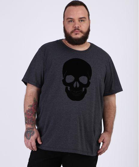 Camiseta-Masculina-Plus-Size-Slim-Caveira-Flocada-Manga-Curta-Gola-Careca-Cinza-Mescla-Escuro-9955027-Cinza_Mescla_Escuro_1