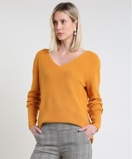 Sueter-Feminino-em-Trico-Canelado-Decote-V-Amarelo-9808728-Amarelo_1