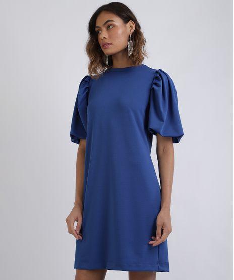Vestido-Feminino-Mindset-Curto-Reto-Manga-Curta-Bufante-Azul-9956407-Azul_1