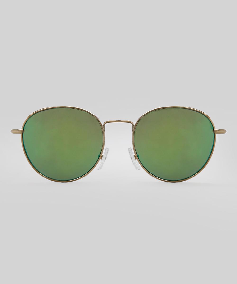 ef6e6e9f38a1a Óculos de Sol Redondo Espelhado Feminino Oneself Dourado - cea