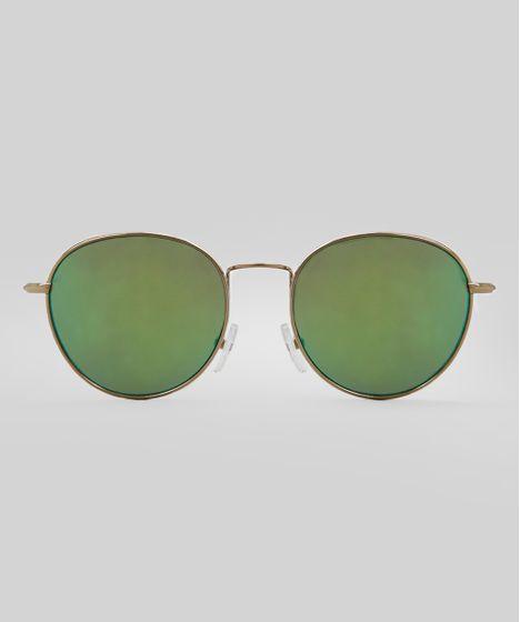 d9c04a80a55cf Óculos de Sol Redondo Espelhado Feminino Oneself Dourado - cea