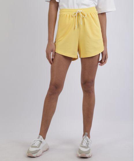 Short-de-Moletom-Feminno-Mindset-Cos-com-Cadarco-e-Bolsos-Amarelo-9958842-Amarelo_1