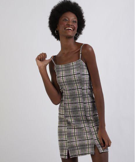 Vestido-Feminino-Curto-Estampado-Xadrez-Alcas-Finas-Decote-Reto-Amarelo-Claro-9953422-Amarelo_Claro_1