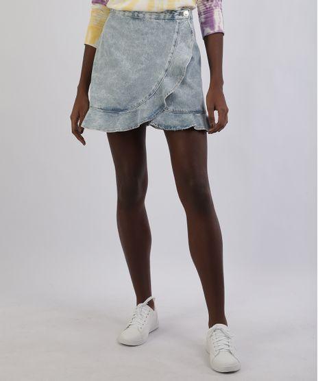 Saia-Jeans-Feminina-Curta-com-Transpasse-e-Babado-Azul-Claro-9953473-Azul_Claro_1
