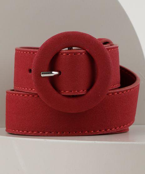 Cinto-Feminino-com-Fivela-Redonda-Vermelho-Escuro-9255445-Vermelho_Escuro_1