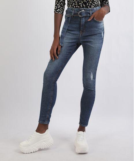 Calca-Jeans-Feminina-Super-Skinny-Rasgos-Cintura-Media-com-Cinto-Azul-Escuro-9950651-Azul_Escuro_1