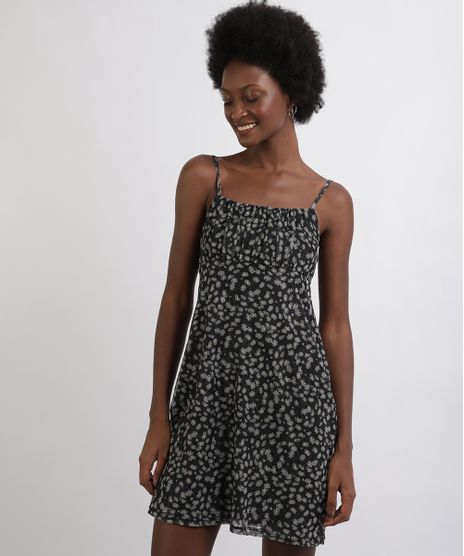 Vestido-Feminino-Curto-em-Tule--Estampado-Floral-Alcas-Finas-Decote-Reto-Preto-9953675-Preto_1