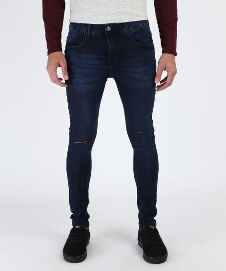 Calca-Jeans-Masculina-Super-Skinny-Destroyed-com-Bolsos-Azul-Escuro-9948767-Azul_Escuro_1