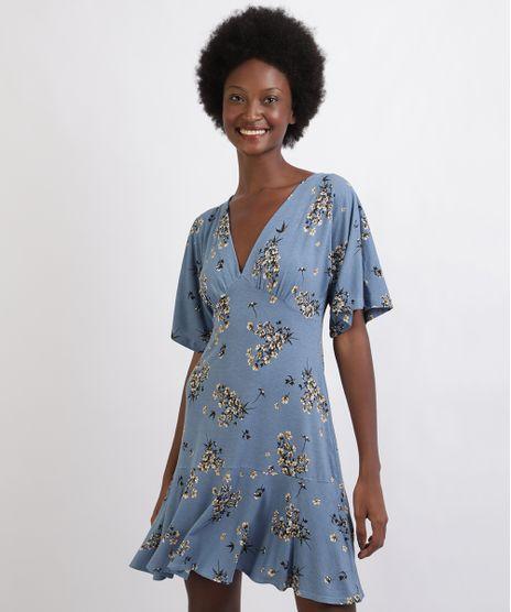 Vestido-Feminino-Curto-Estampado-Floral-Com-Babado-Manga-Curta-Decote-V-Azul-9960462-Azul_1