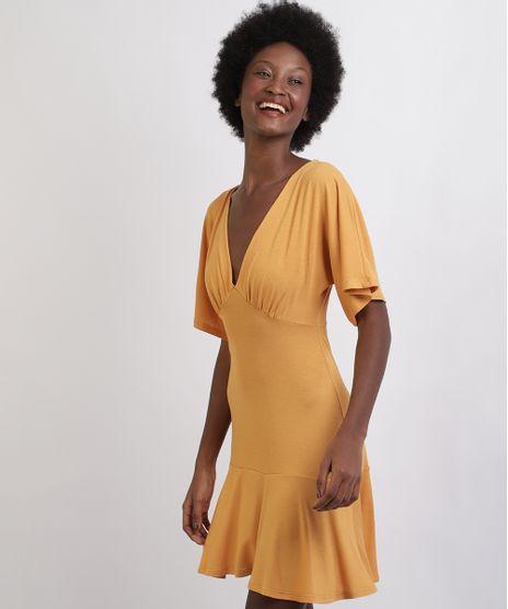 Vestido-Feminino-Curto-Com-Babado-Manga-Curta-Decote-V-Amarelo-9960463-Amarelo_1
