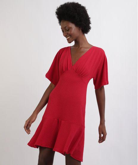 Vestido-Feminino-Curto-Com-Babado-Manga-Curta-Decote-V-Vermelho-9960464-Vermelho_1