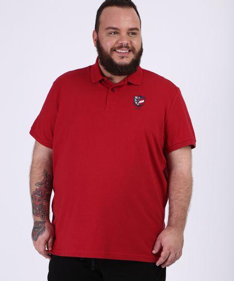 Polo-Masculina-Plus-Size-Bordado-de-Rosa-dos-Ventos-Manga-Curta-Gola-Careca-Vermelha-9954196-Vermelho_1